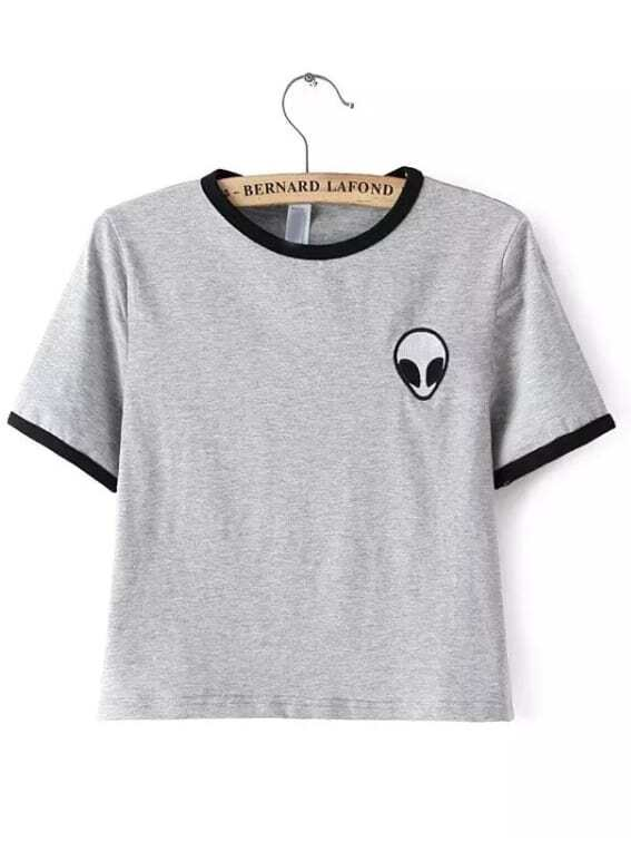 329774b3955a5e Grey Crew Neck Alien Print Crop T-Shirt EmmaCloth-Women Fast Fashion ...