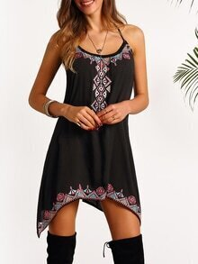 Black Spaghetti Strap Embroidered Dress