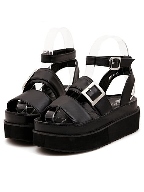 354518a88ccb Strappy Oversized Buckle Chunky Platform Black Sandals EmmaCloth ...