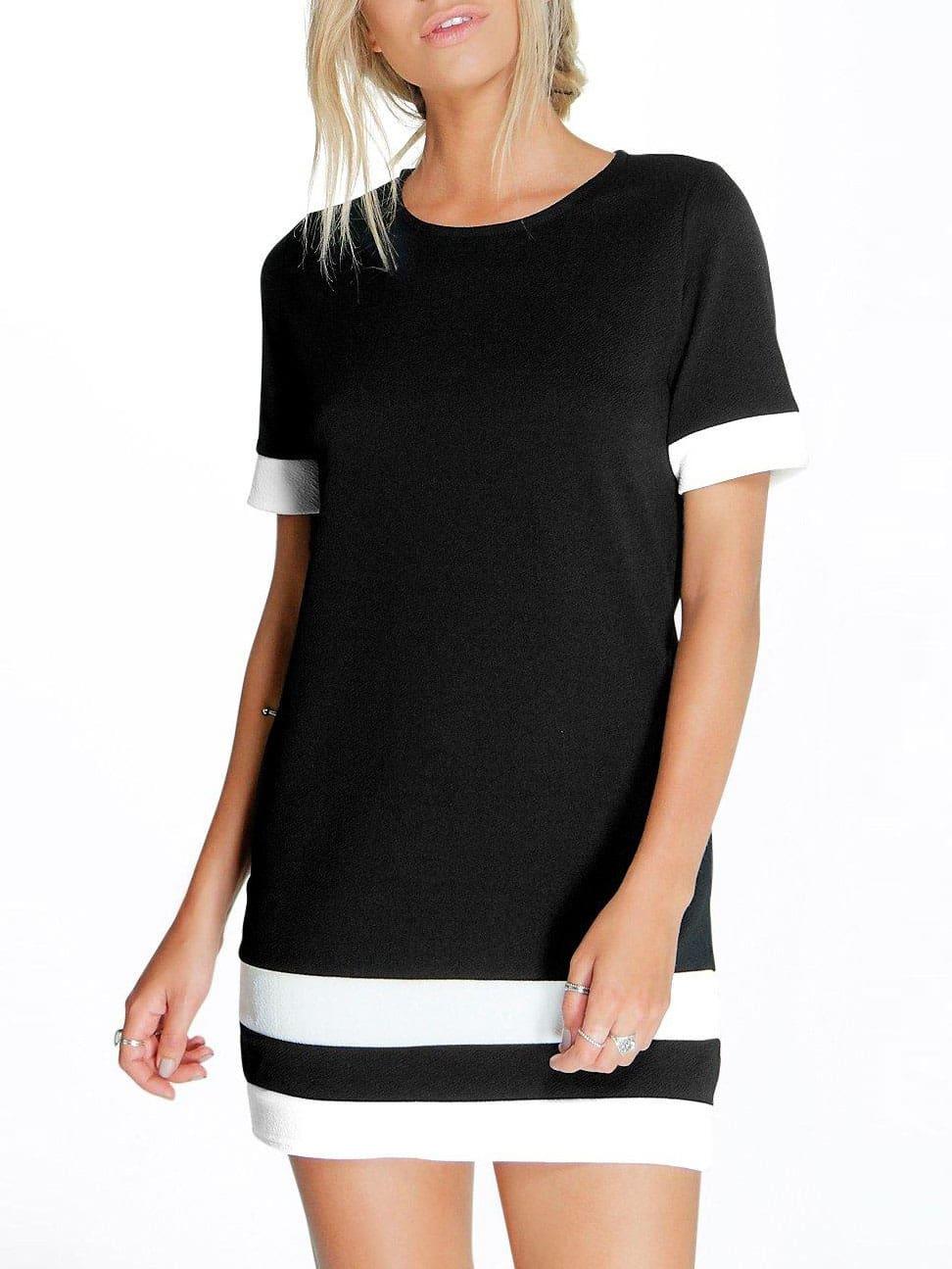 56b2084e82 Black White Patchwork Short Sleeve Shift Dress EmmaCloth-Women Fast ...