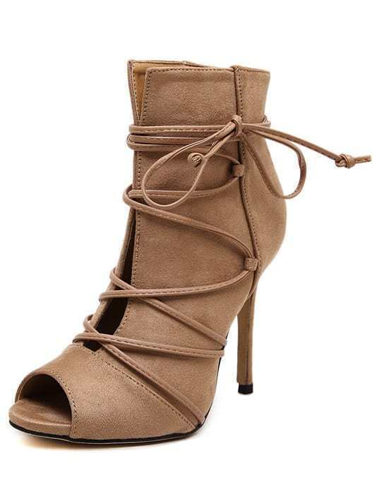 0bf8a8d9e054 Apricot Peep Toe Lace-up Heeled Sandals EmmaCloth-Women Fast Fashion ...