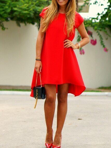 553ca6f73f Red V Cut Back High Low Dress EmmaCloth-Women Fast Fashion Online