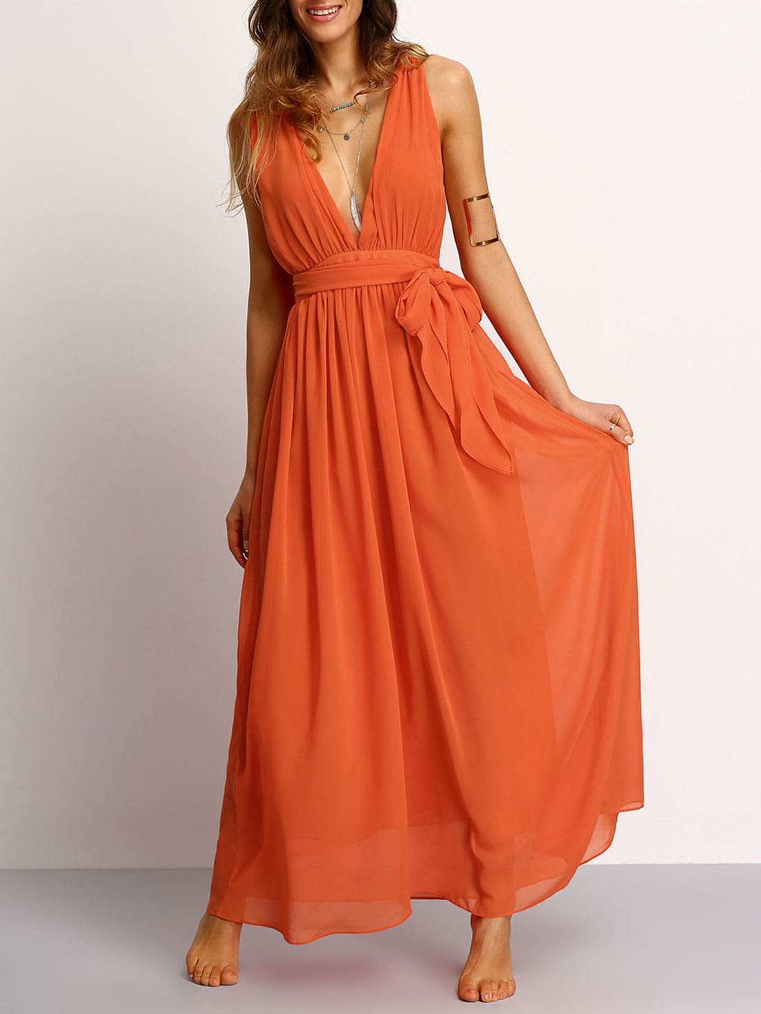 Orange Deep V Neck Self Tie Waist Maxi Dress Emmacloth Women Fast Fashion Online