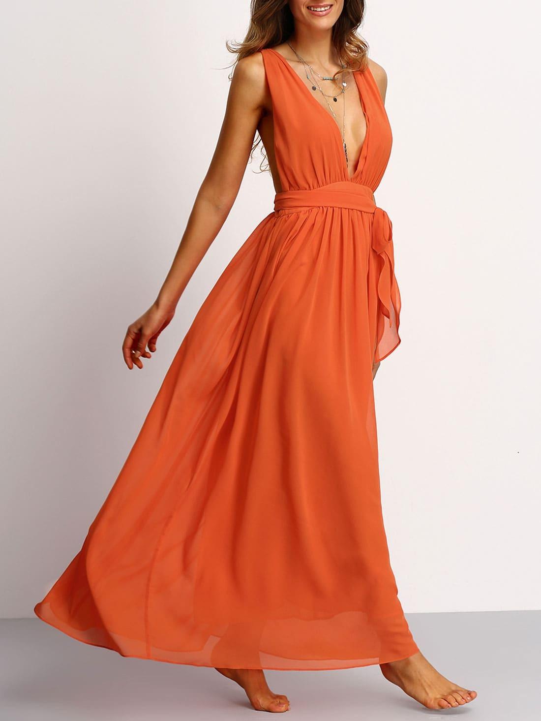 204453ecf7 Orange Deep V Neck Self-tie Waist Maxi Dress EmmaCloth-Women Fast Fashion  Online