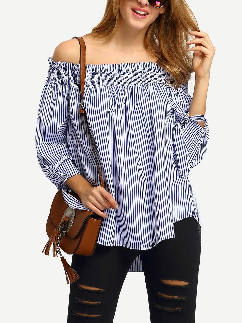 fc1309c7b5452 Blue White Stripe Off The Shoulder Tie Cuff Blouse EmmaCloth-Women ...