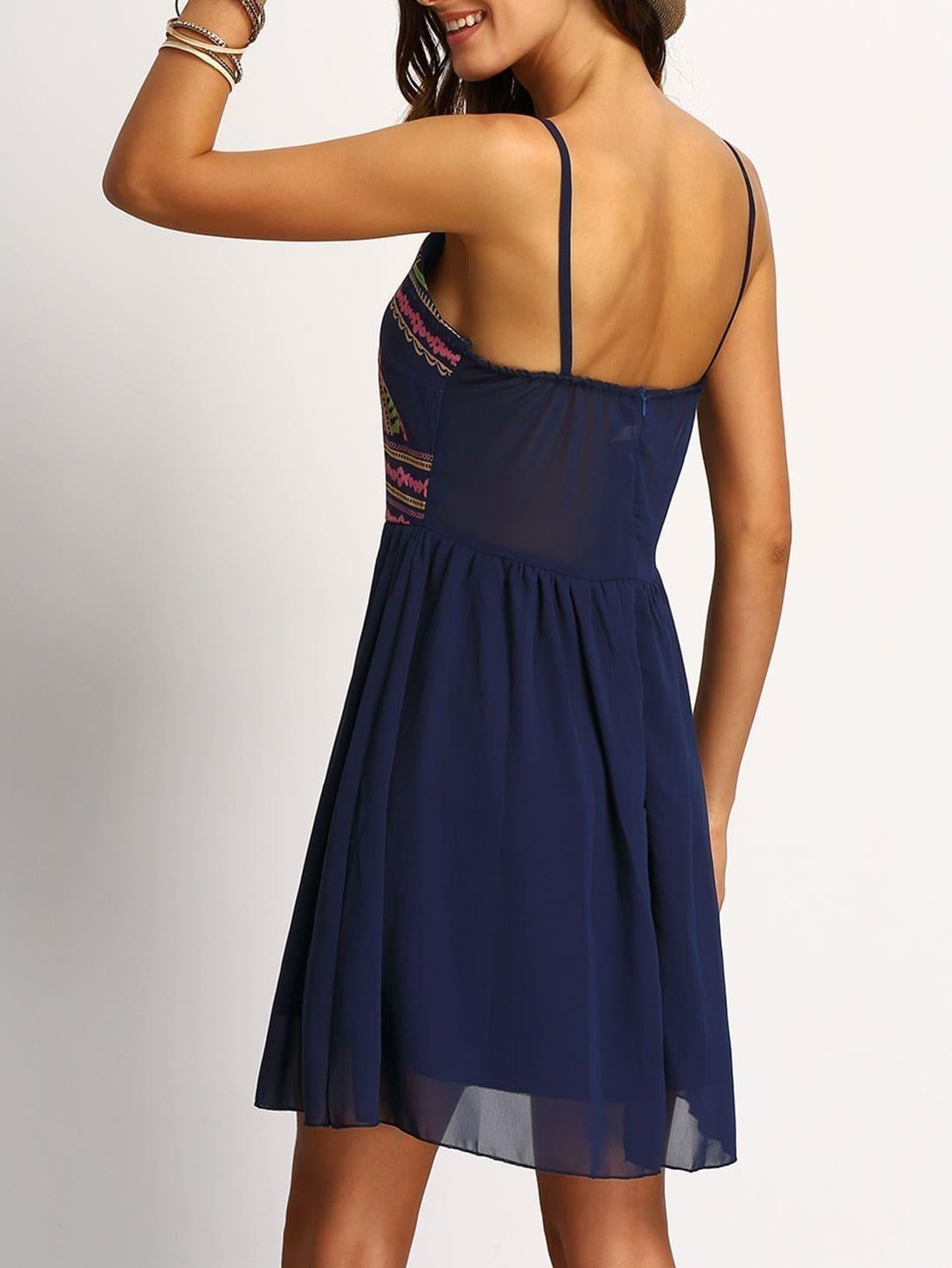 6c7e10e0b8415 Navy Spaghetti Strap Print Dress EmmaCloth-Women Fast Fashion Online