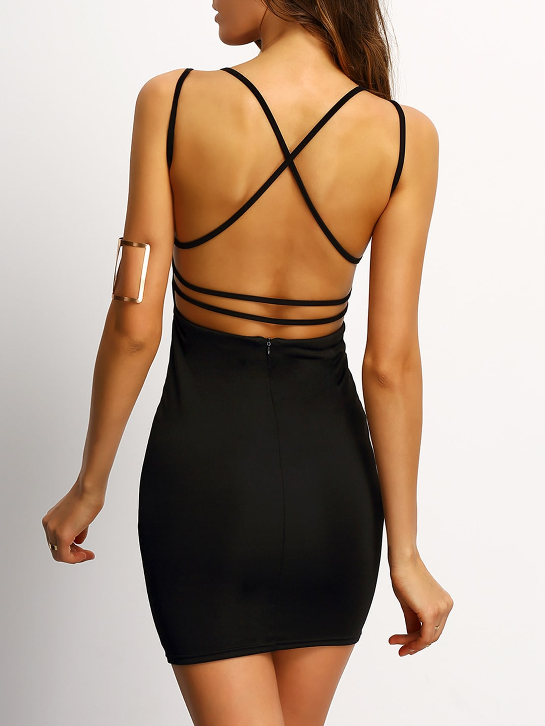 698051626d Black Crisscross Back Bodycon Dress EmmaCloth-Women Fast Fashion Online