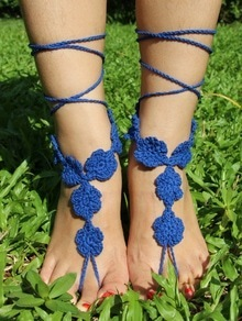 Blue Sweater Crochet Mittens Anklets