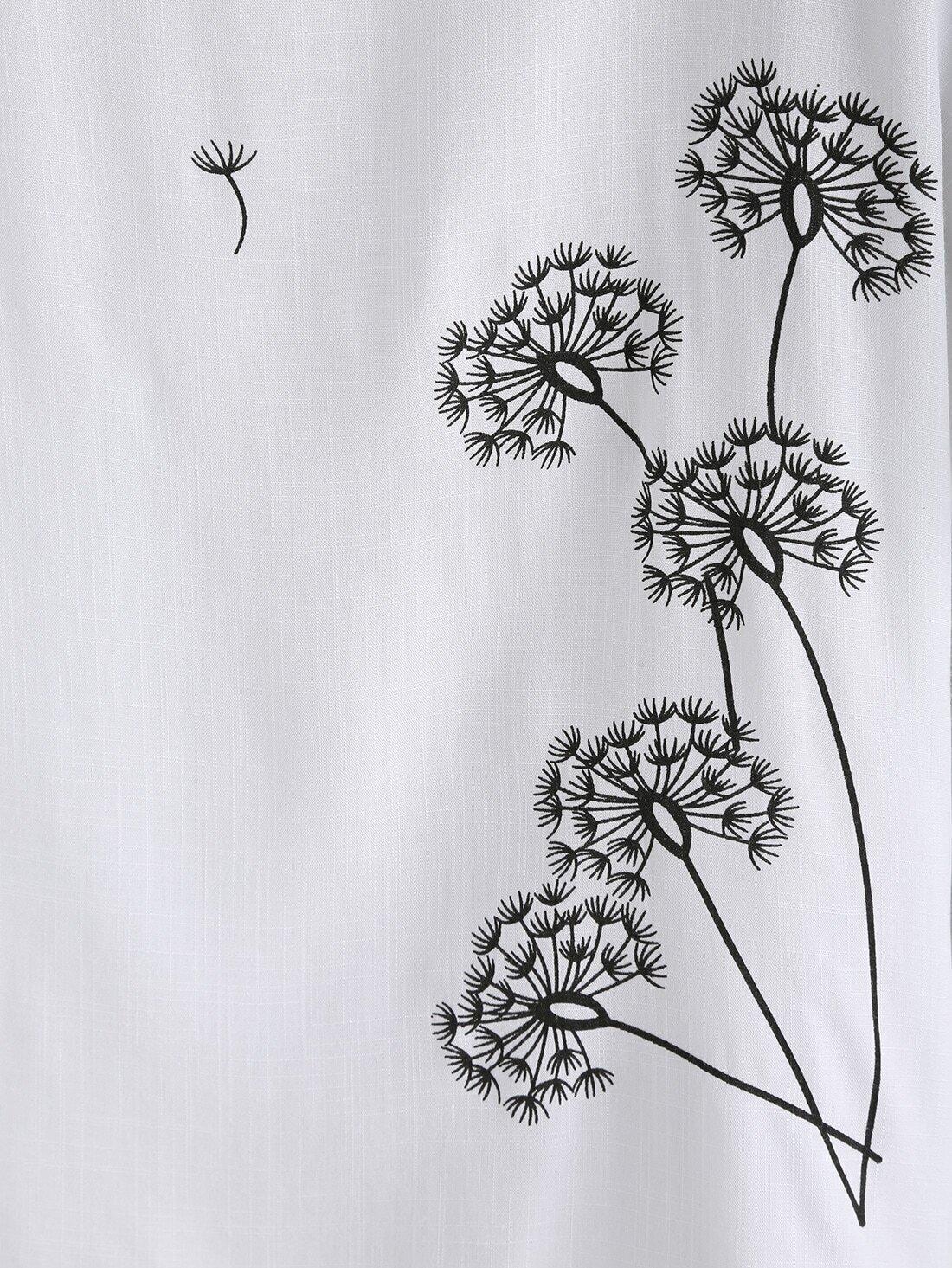 8ce28e3f65 Dandelion Print Linen T-shirt EmmaCloth-Women Fast Fashion Online