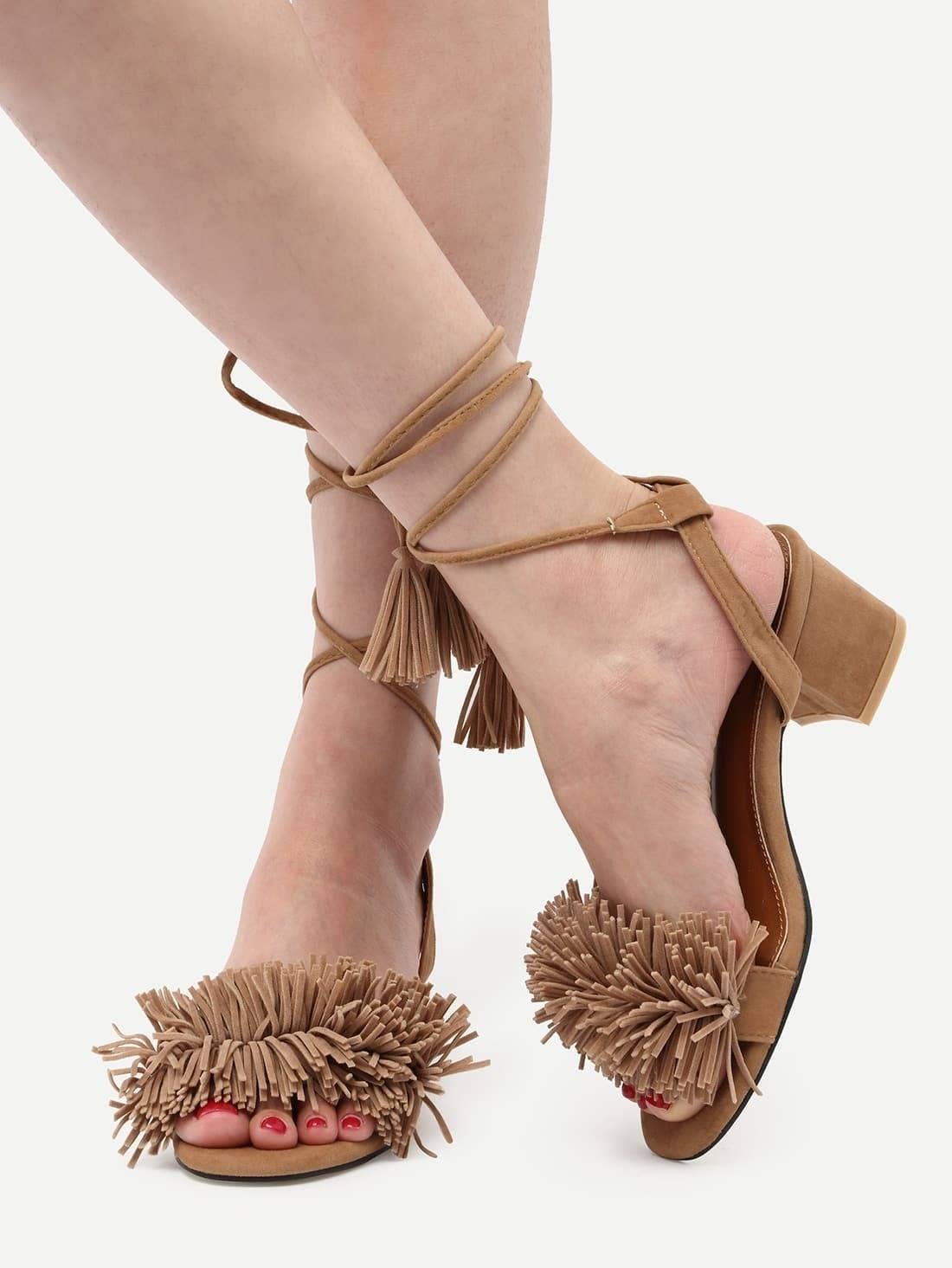 hot sales 37caa 29290 Aricot Lace Up Single Sole Tassel Chunky Pumps pictures