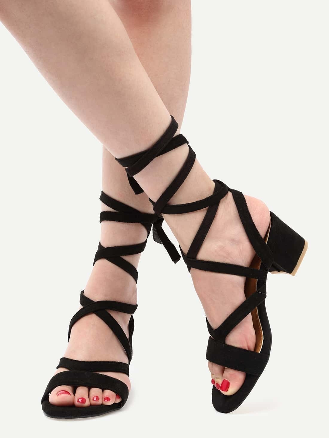 76c0d1042ac8 Black Faux Suede Lace Up Sandals EmmaCloth-Women Fast Fashion Online