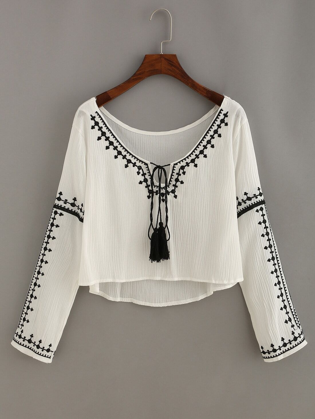 f5b638792d43c5 Embroidery Tassel-Tie Neck High Low Blouse EmmaCloth-Women Fast ...