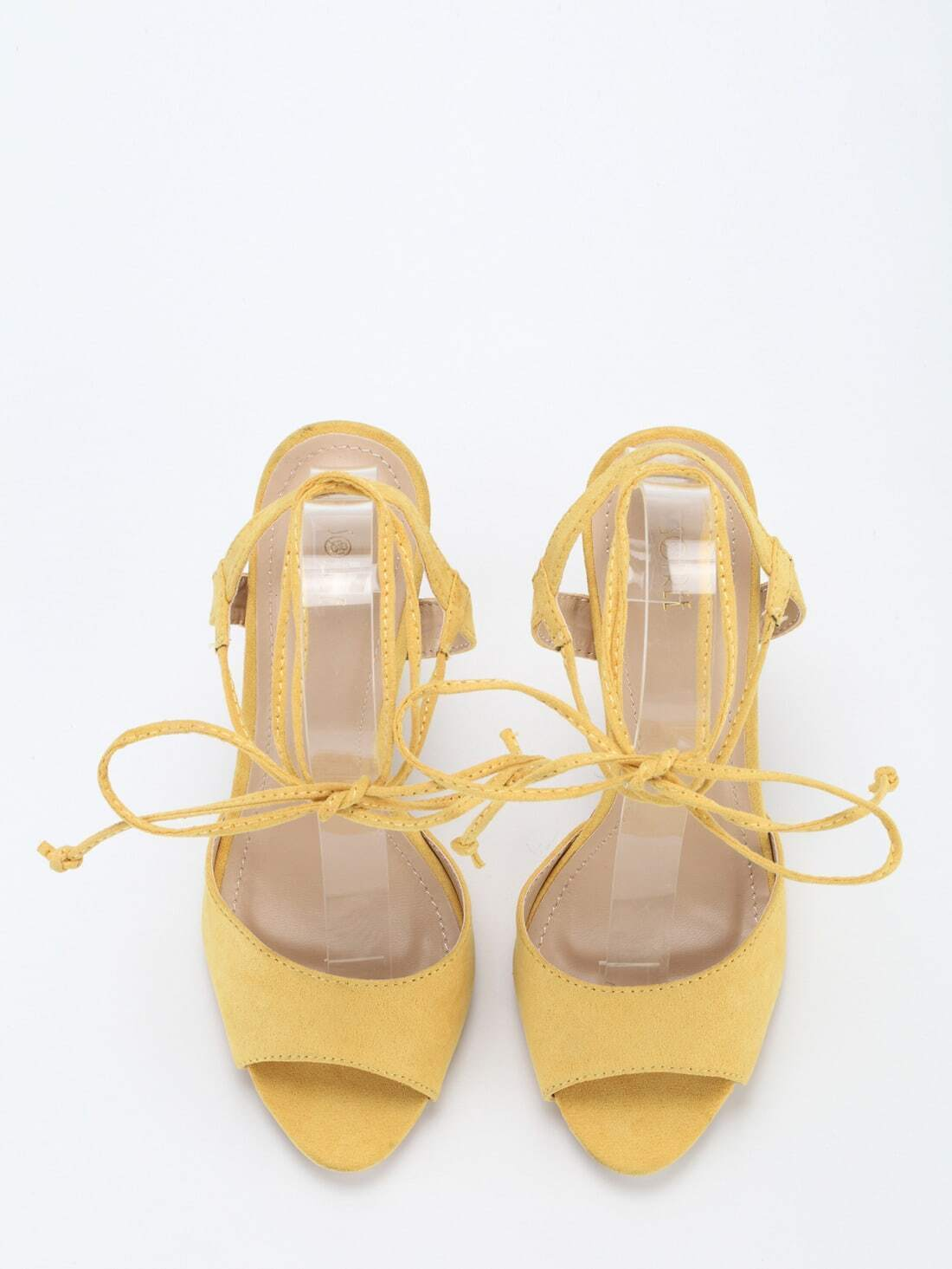 b593993a0dc Yellow Ankle Lace-Up Block Heel Sandals EmmaCloth-Women Fast Fashion ...