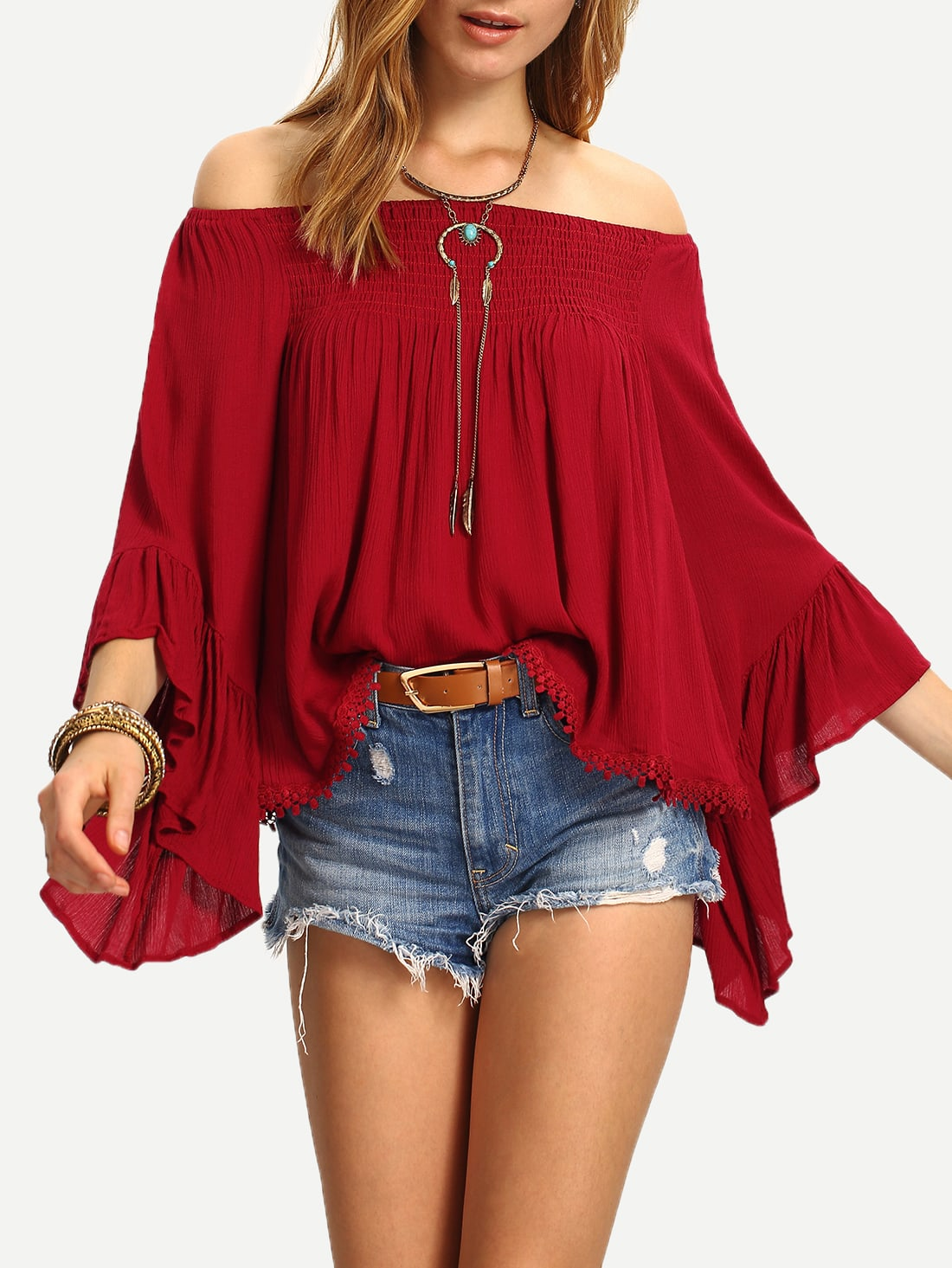 25034b1443939 Off-The-Shoulder Bell Sleeve Top EmmaCloth-Women Fast Fashion Online