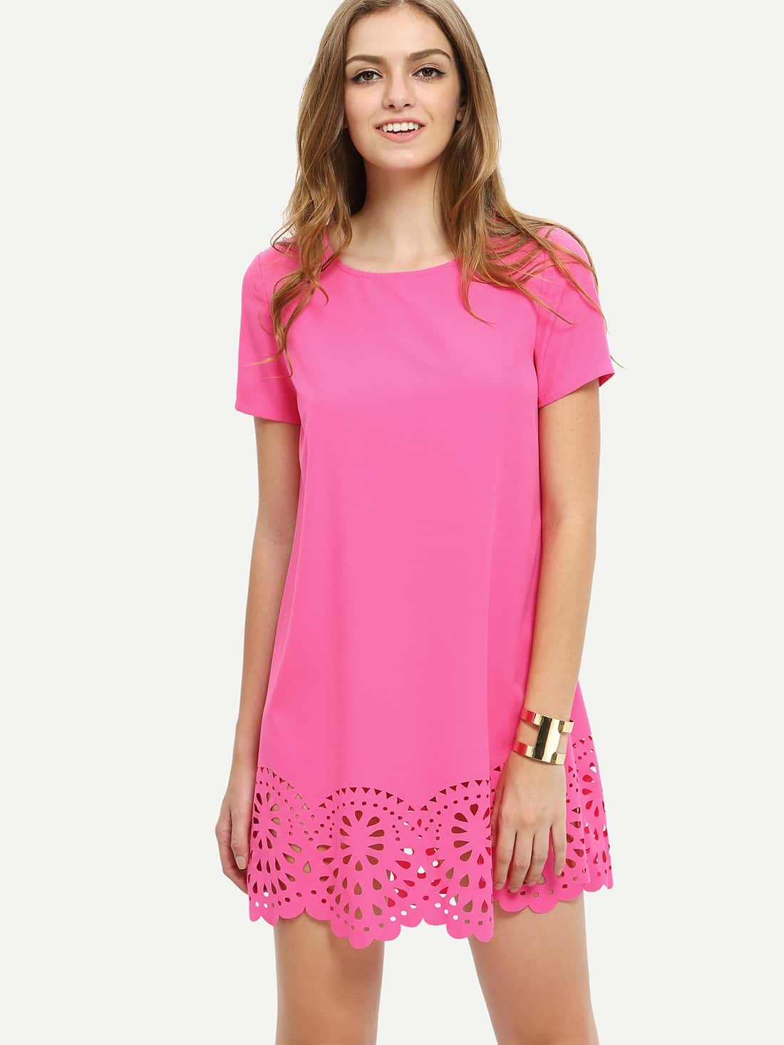 cf3142c728 Hot Pink Short Sleeve Hollow Shift Dress EmmaCloth-Women Fast ...