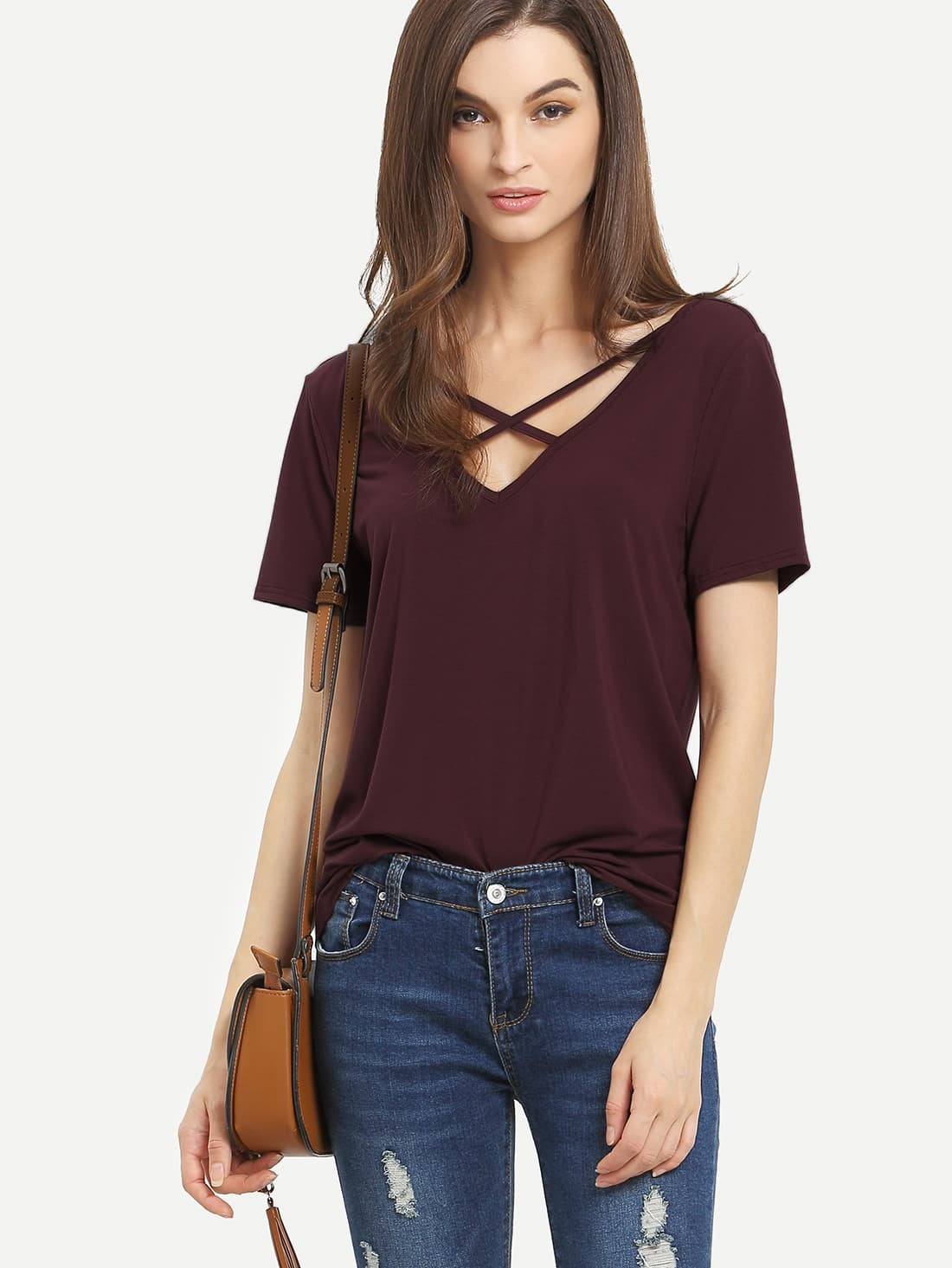 203e7556 Burgundy Criss Cross Front Casual T-shirt EmmaCloth-Women Fast ...