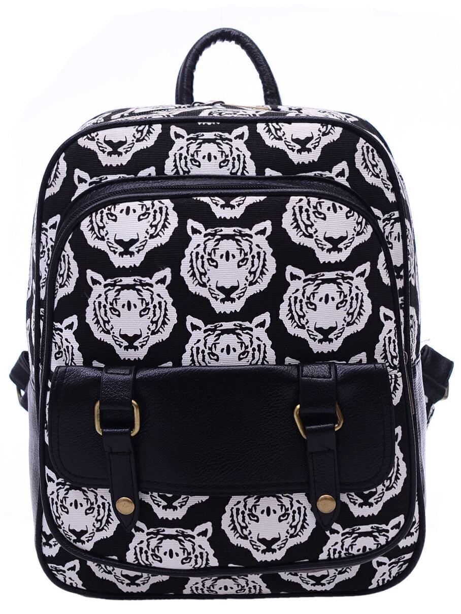 e351b285e250 Black White Tiger Print Canvas Backpack EmmaCloth-Women Fast Fashion ...