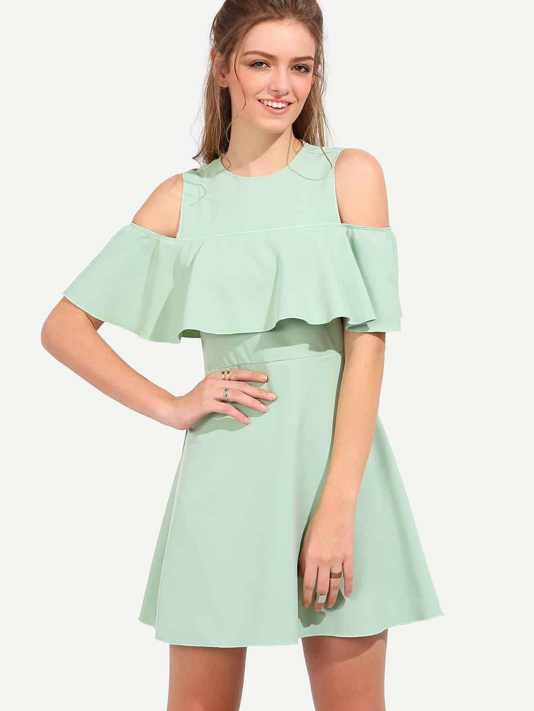 9bf16622e4 Green Half Sleeve Cold Shoulder Ruffle Dress EmmaCloth-Women Fast ...