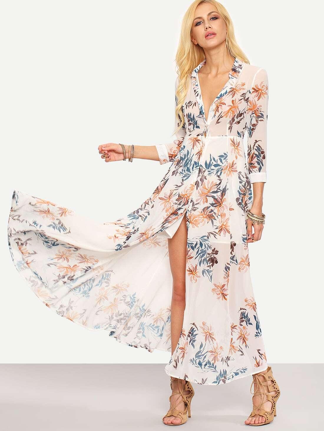 Flower Print Chiffon Long Shirt Dress White Emmacloth Women Fast