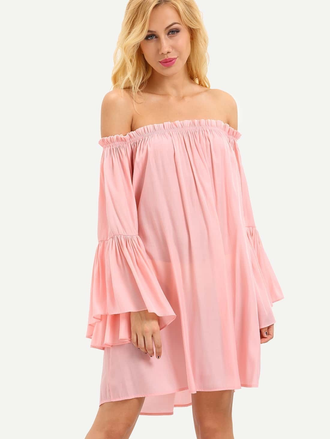 01600c681a Ruffled Off-The-Shoulder Bell Sleeve Dress - Pink EmmaCloth-Women ...