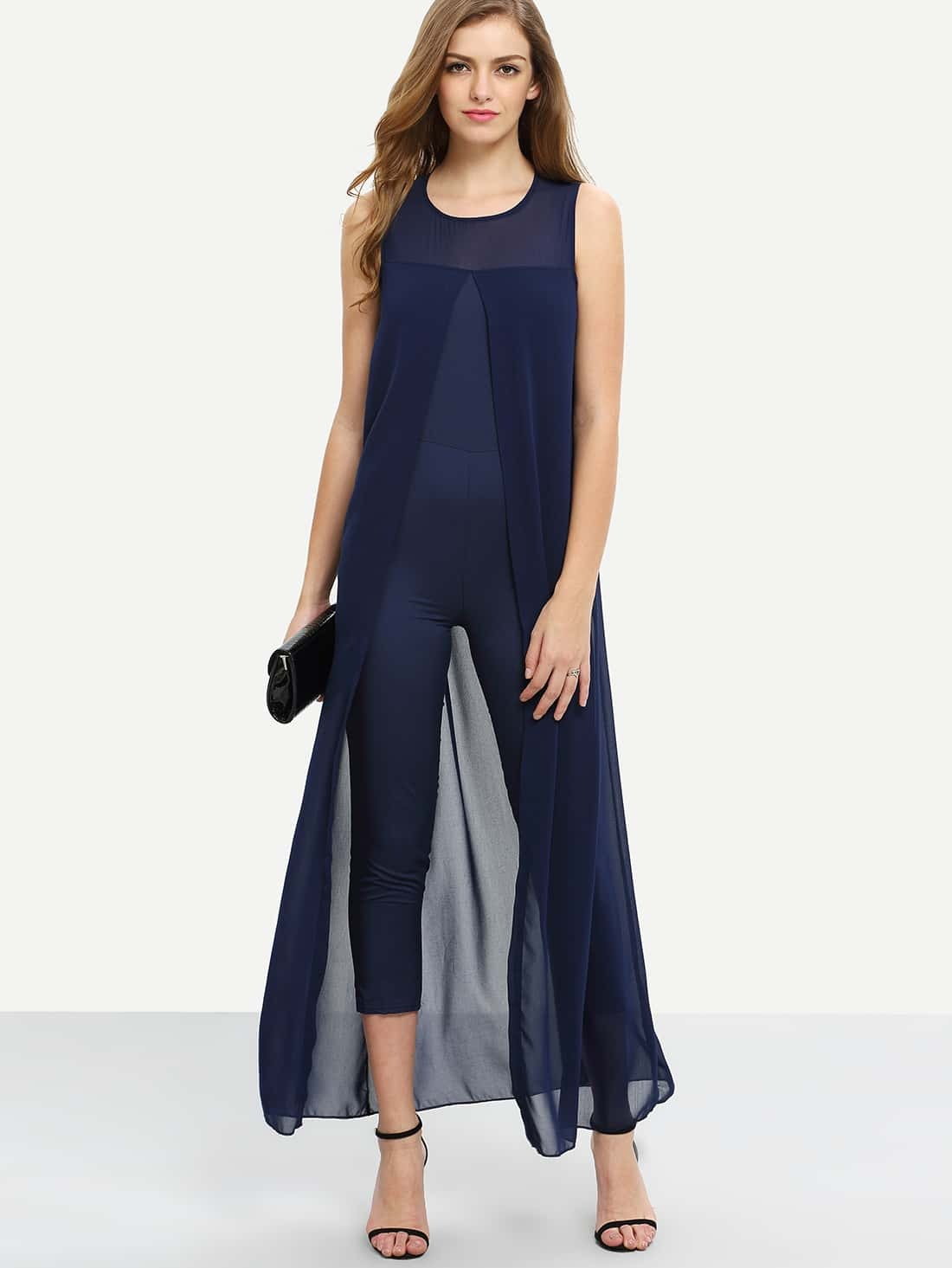 27e46f8573d Chiffon Overlay Skinny Jumpsuit - Navy EmmaCloth-Women Fast Fashion ...