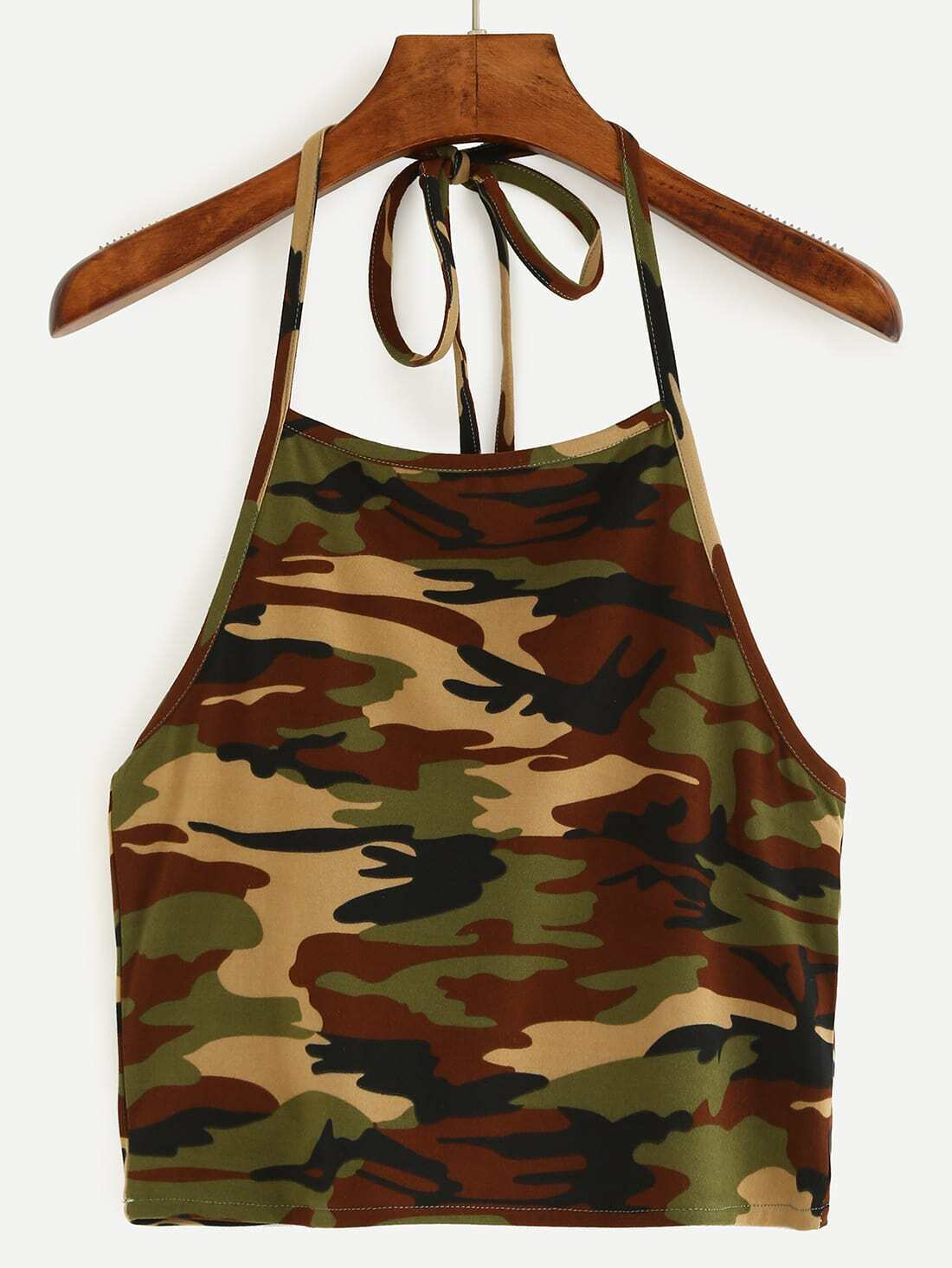 7e19bb135836c Halter Neck Camouflage Crop Cami Top - Olive Green EmmaCloth-Women ...