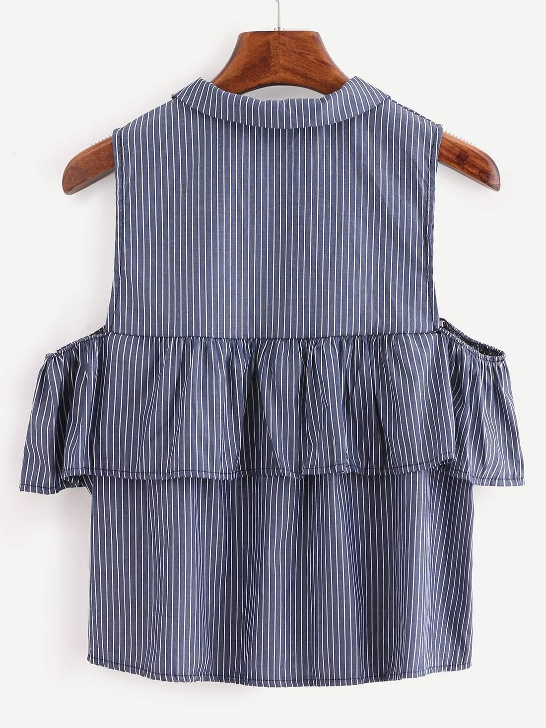 f501b96be203 Ruffled Open Shoulder Vertical Striped Shirt - Blue EmmaCloth-Women Fast  Fashion Online
