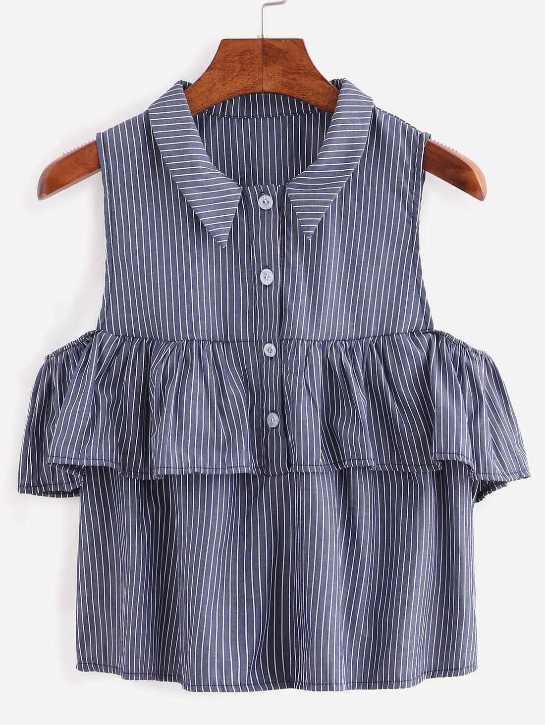 161ae2a9514b Ruffled Open Shoulder Vertical Striped Shirt - Blue EmmaCloth-Women ...
