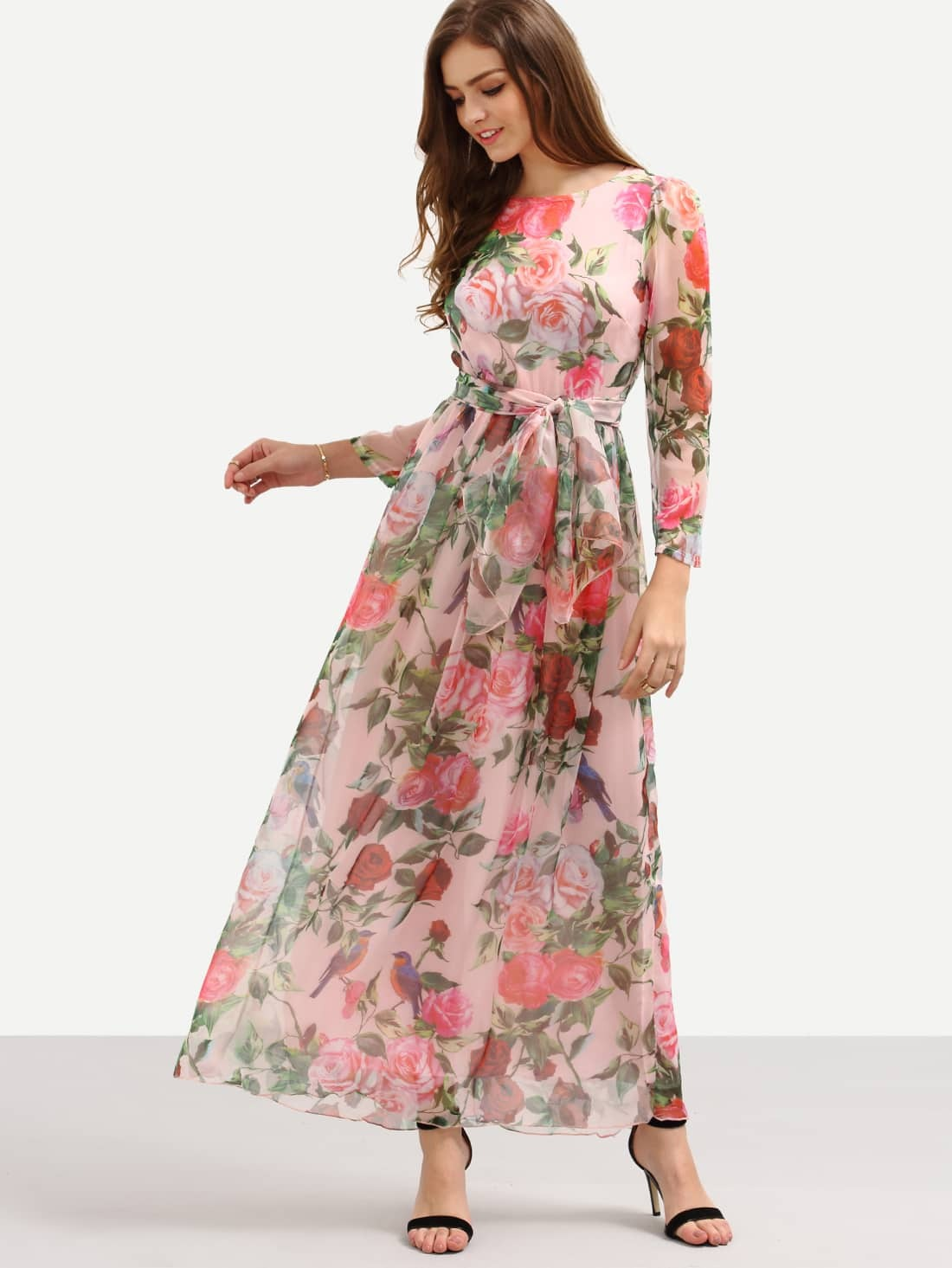 dc1f3463126dfd Self-Tie Rose Print Long Sleeve Chiffon Dress - Pink EmmaCloth ...