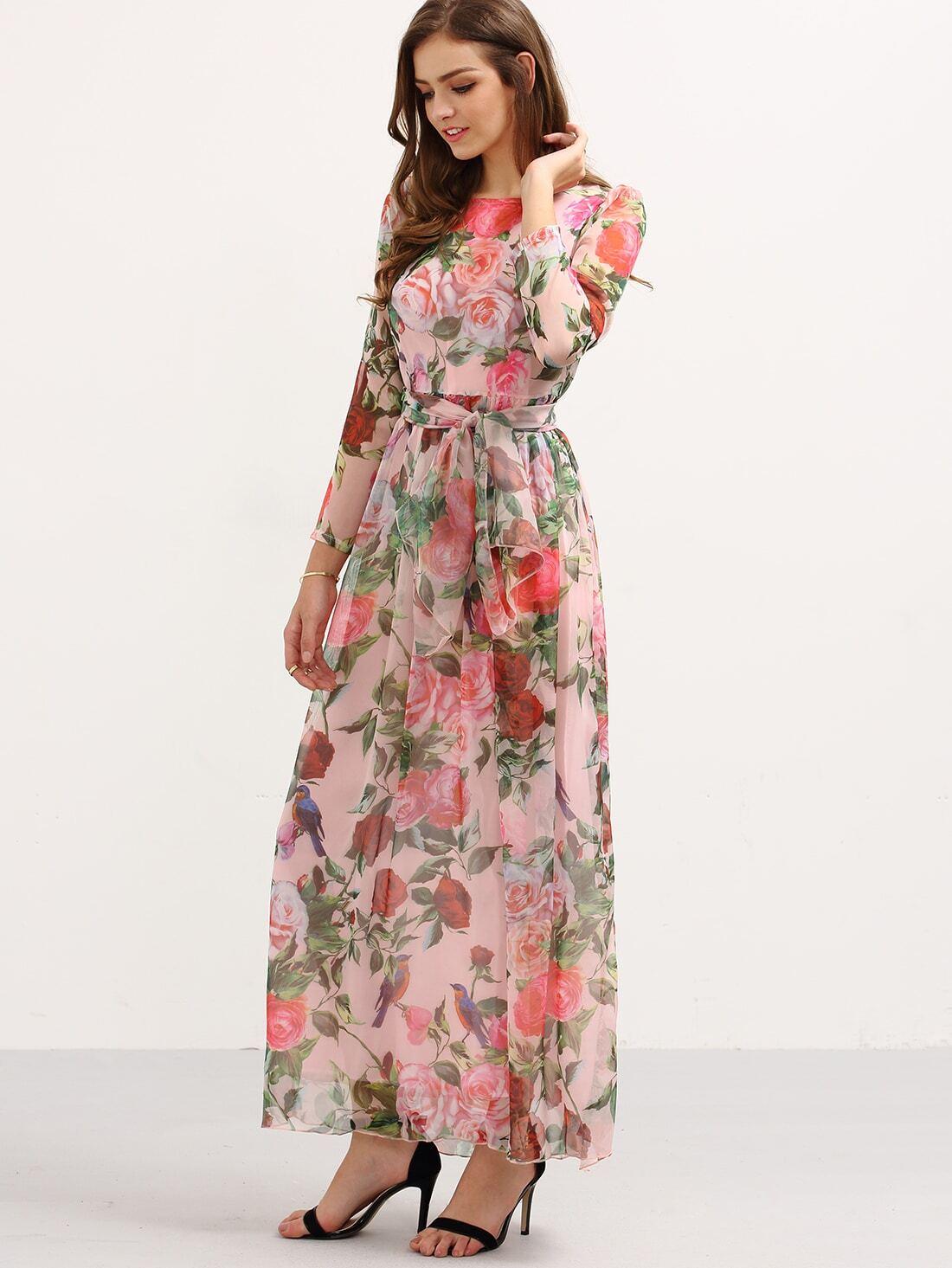 8e44d00bc2717 Self-Tie Rose Print Long Sleeve Chiffon Dress - Pink EmmaCloth-Women Fast  Fashion Online