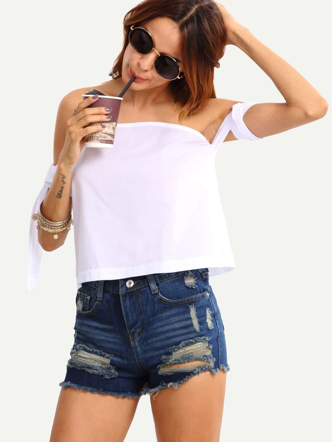 cb5e82251f56f6 Off The Shoulder Self-Tie White Top EmmaCloth-Women Fast Fashion Online