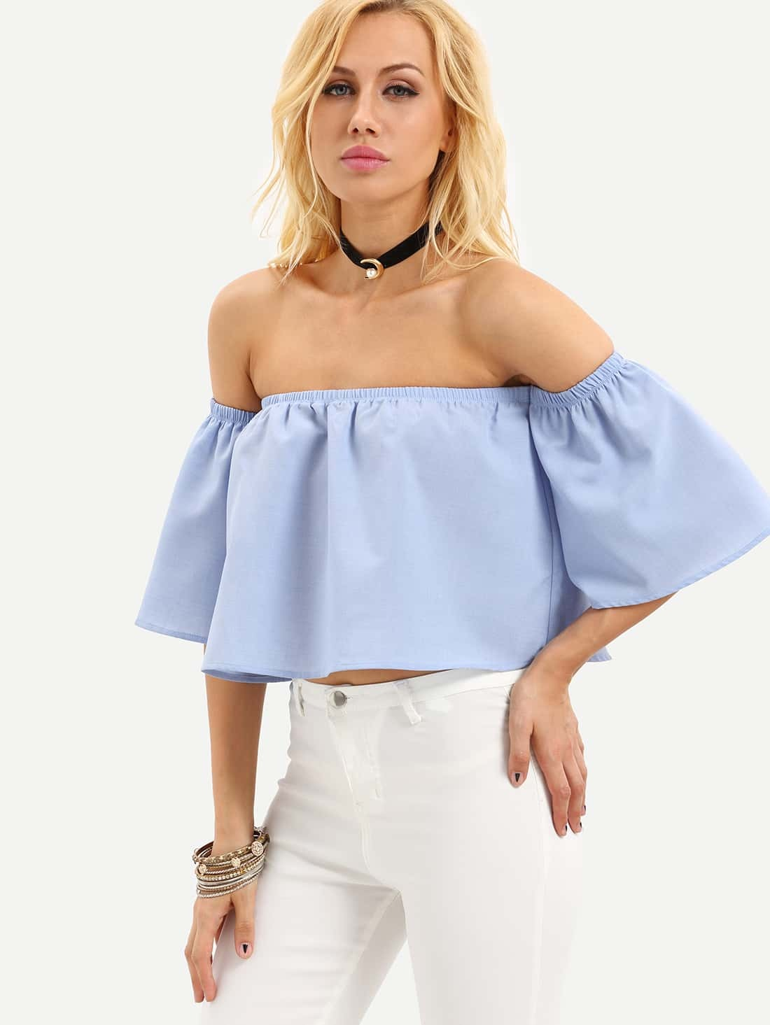 6265e1fa44318 Blue Off The Shoulder Bell Sleeve Crop Blouse EmmaCloth-Women Fast ...