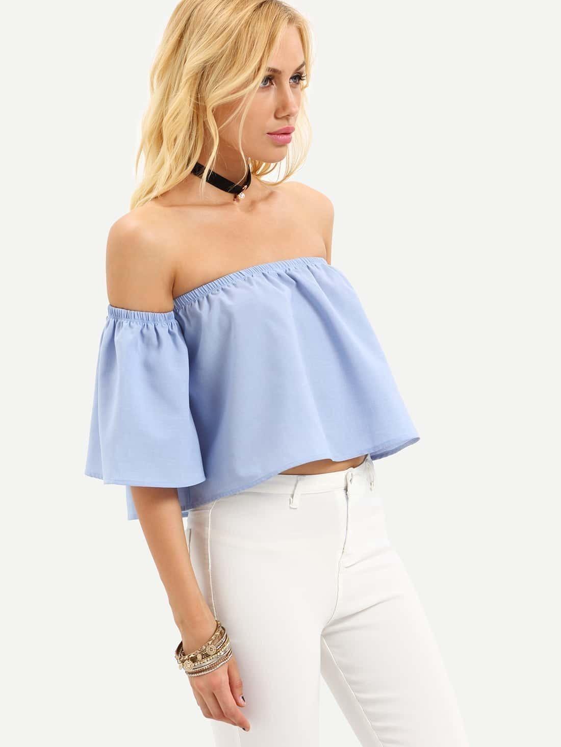 2e3e4c79ea77e Blue Off The Shoulder Bell Sleeve Crop Blouse EmmaCloth-Women Fast Fashion  Online