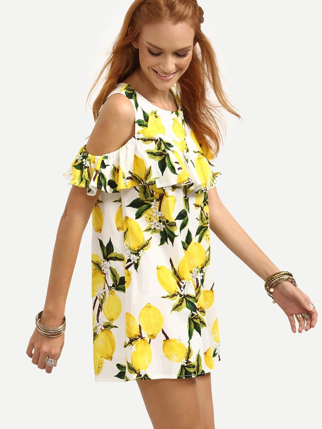 c76e0f301c Open Shoulder Ruffled Lemon Print Dress - Yellow EmmaCloth-Women ...