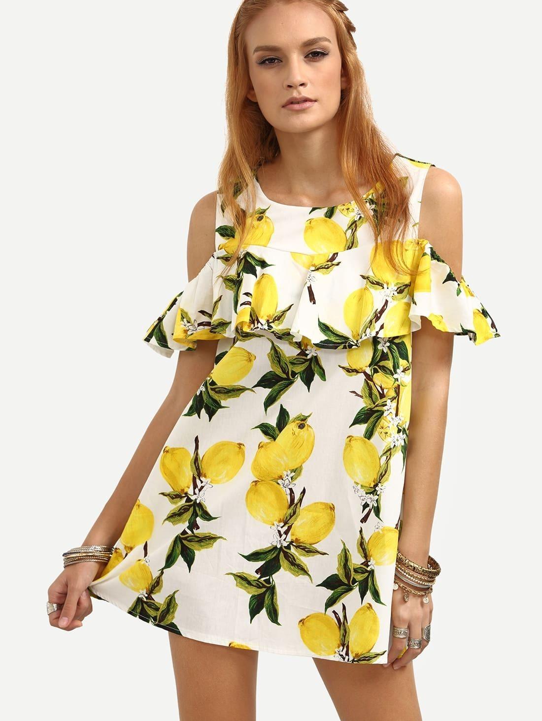 28d50793e83a Open Shoulder Ruffled Lemon Print Dress - Yellow EmmaCloth-Women Fast  Fashion Online