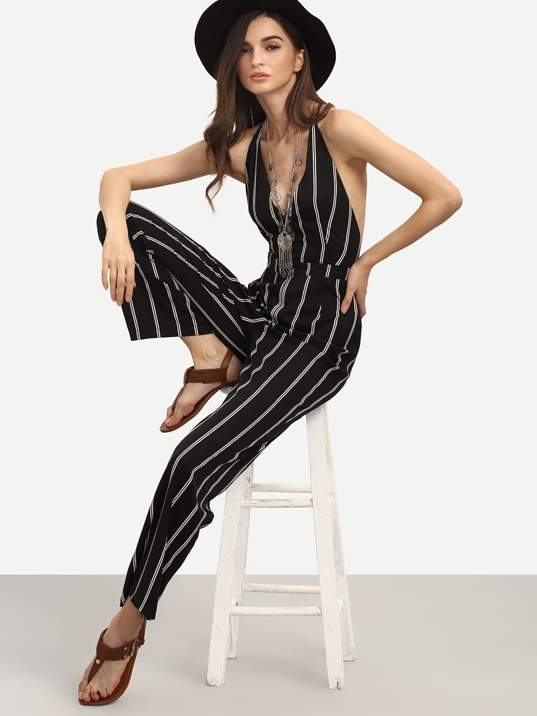 3aee7eed4df91 Black and White Striped Sleeveless V Neck Jumpsuit EmmaCloth-Women ...