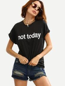 Black Crew Neck Letters Print Cuffed Sleeve T-shirt