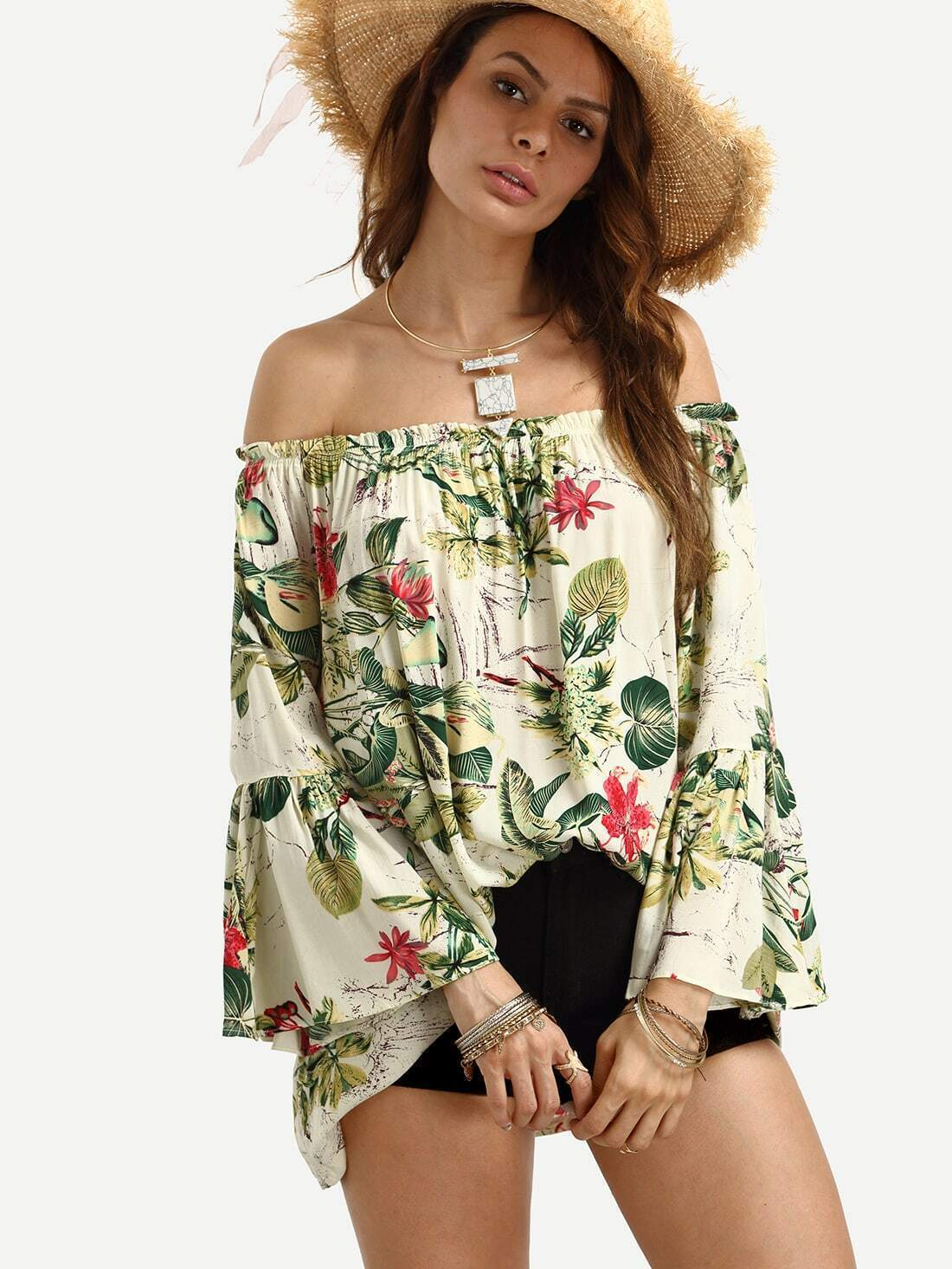 c82501b71c2c1 Off The Shoulder Bell Sleeve Floral Print Top EmmaCloth-Women Fast ...