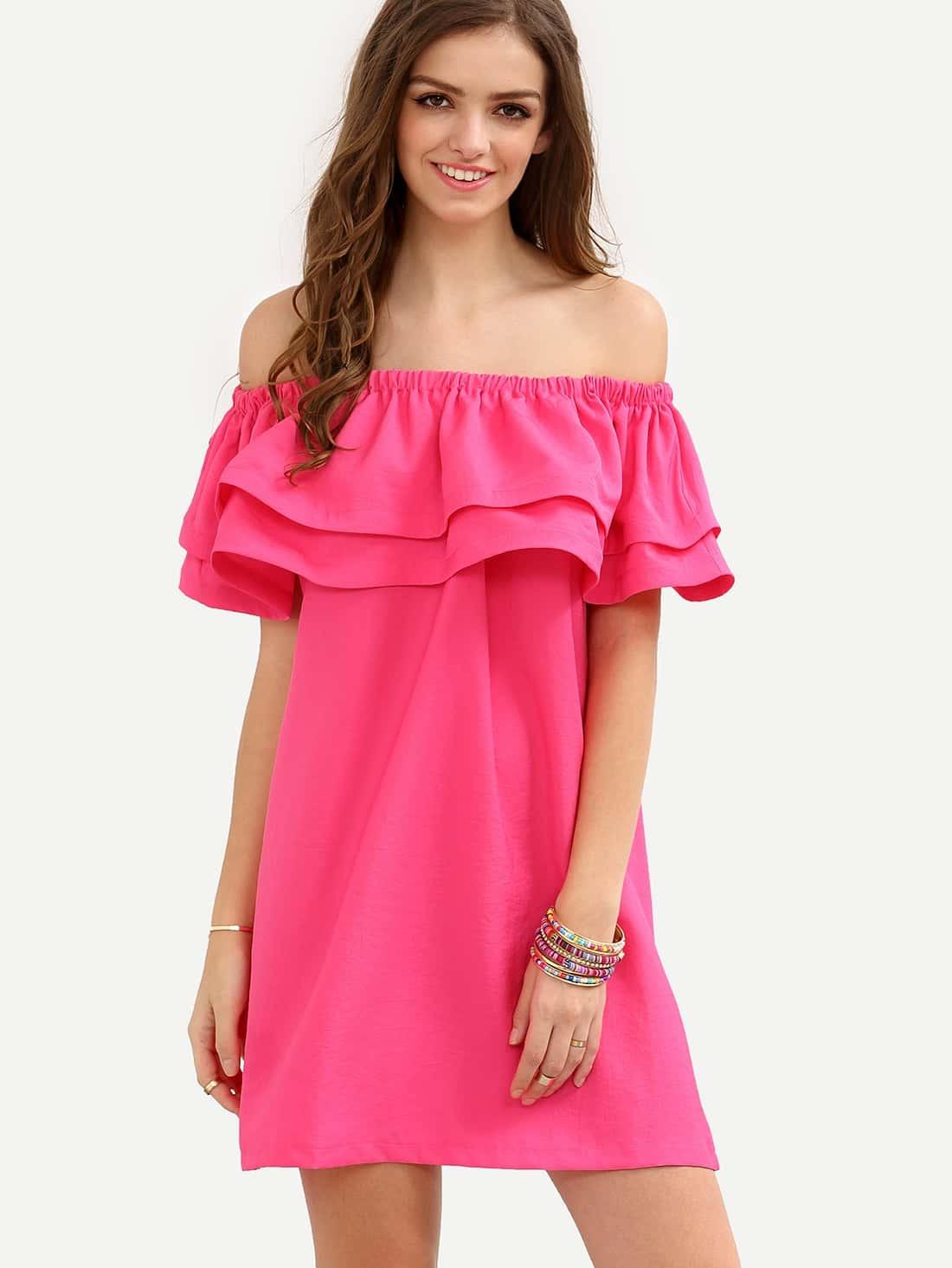 9b3b81a94586 Hot Pink Off The Shoulder Ruffle Shift Dress EmmaCloth-Women Fast ...