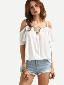 White Lace Trimmed Cold Shoulder Top