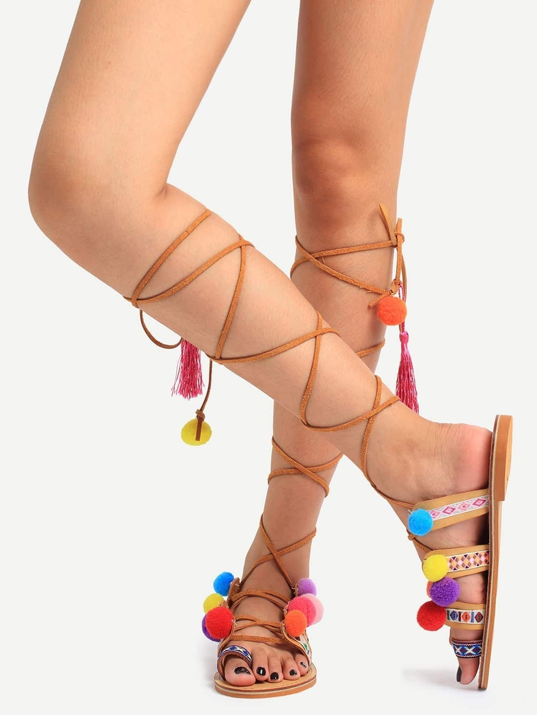 03ce6d76add7 Multicolor Pop-pom Decorated Lace-up Ring Toe Sandals EmmaCloth ...