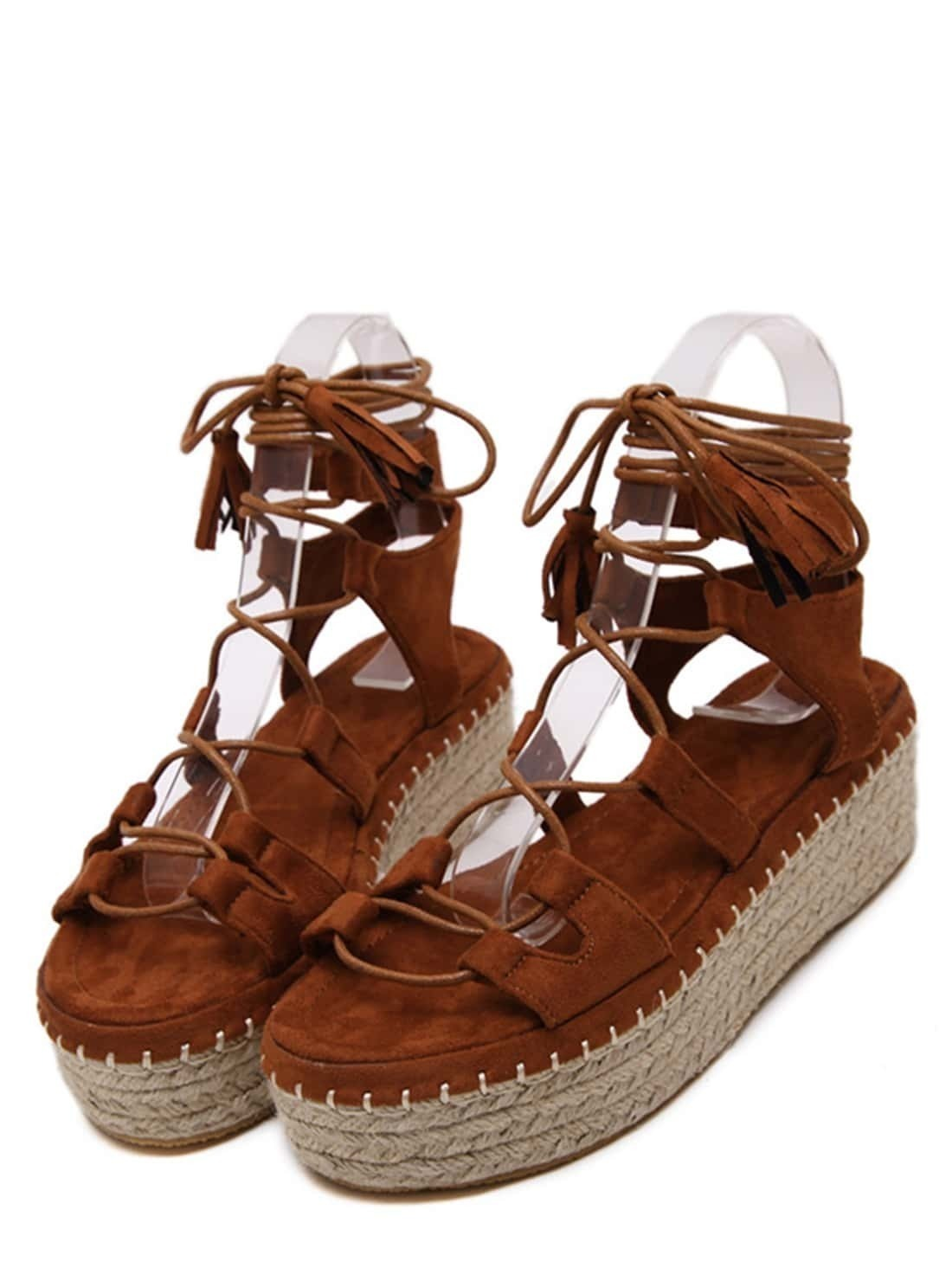 6324385b006f Brown Open Toe Lace-up Espadrille Sandals EmmaCloth-Women Fast ...