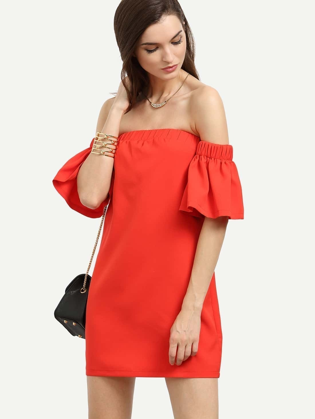 539c64e476 Red Off The Shoulder Ruffle Sleeve Dress EmmaCloth-Women Fast ...