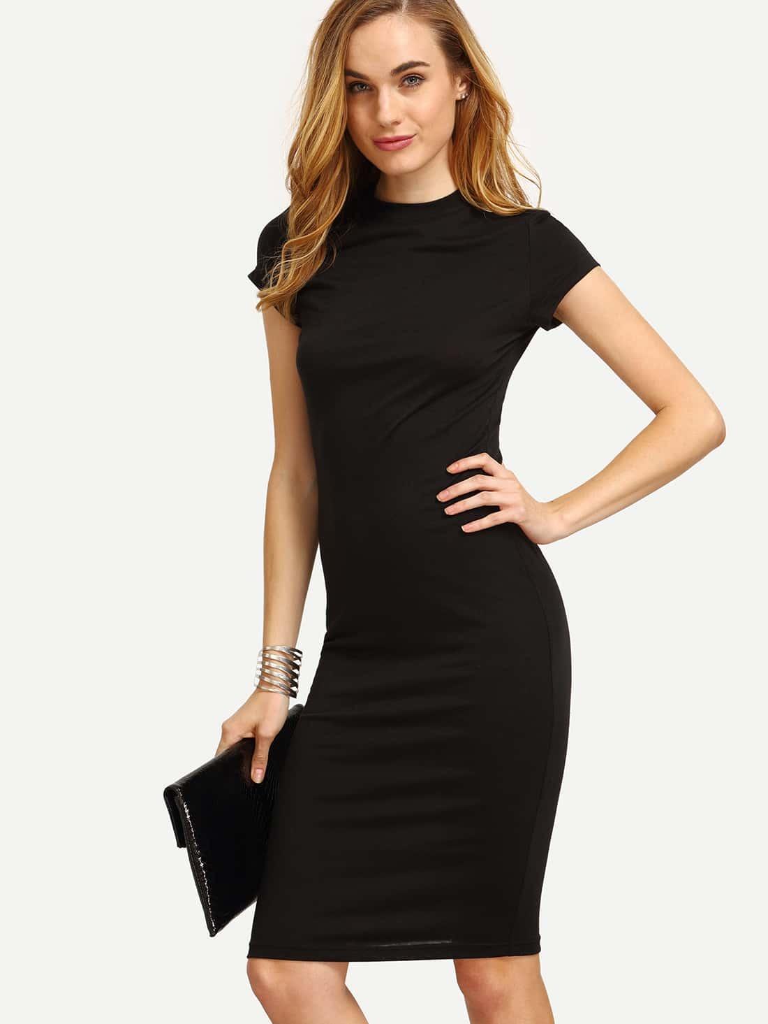 Black Cap Sleeve Crew Neck Sheath Dress EmmaCloth-Women Fast Fashion ... a1e05d5d8a7b