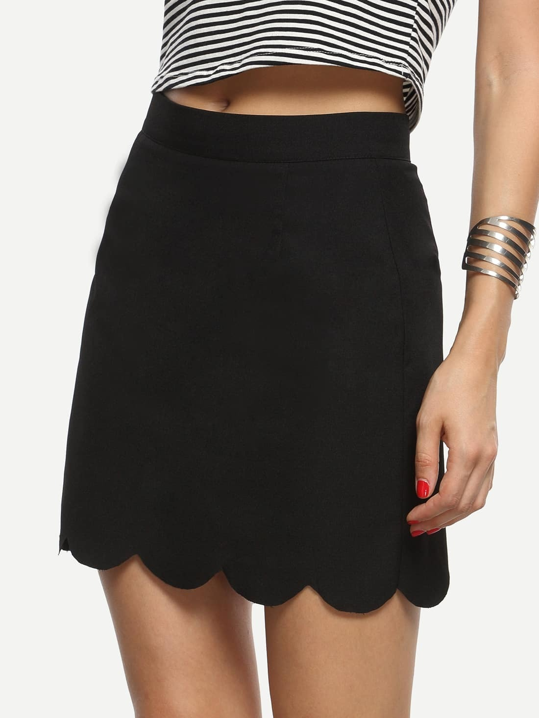5e296ec74 Black Scalloped Hem A-line Skirt EmmaCloth-Women Fast Fashion Online
