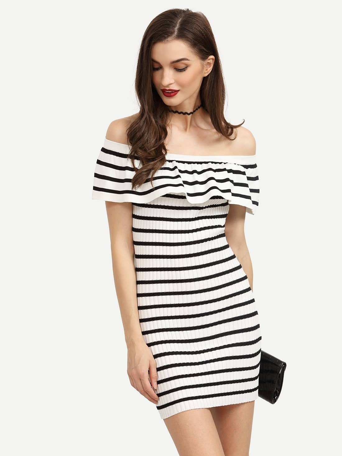 31fca9ca560a1 Black White Striped Ruffled Off The Shoulder Dress EmmaCloth ...
