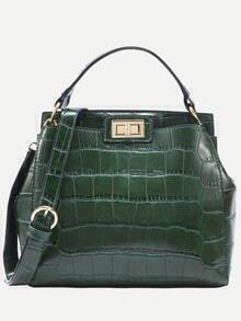 Green Crocodile Embossed Double Turnlock Satchel Bag