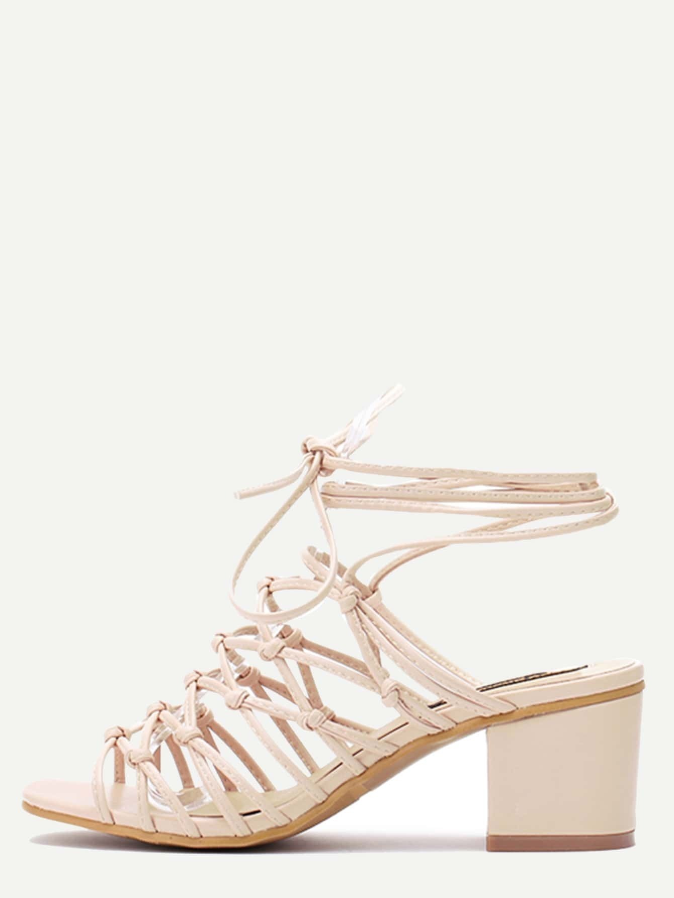 777e5c3c7310 Beige Square Peep Toe Knotted Lace-up Chunky Sandals EmmaCloth-Women ...
