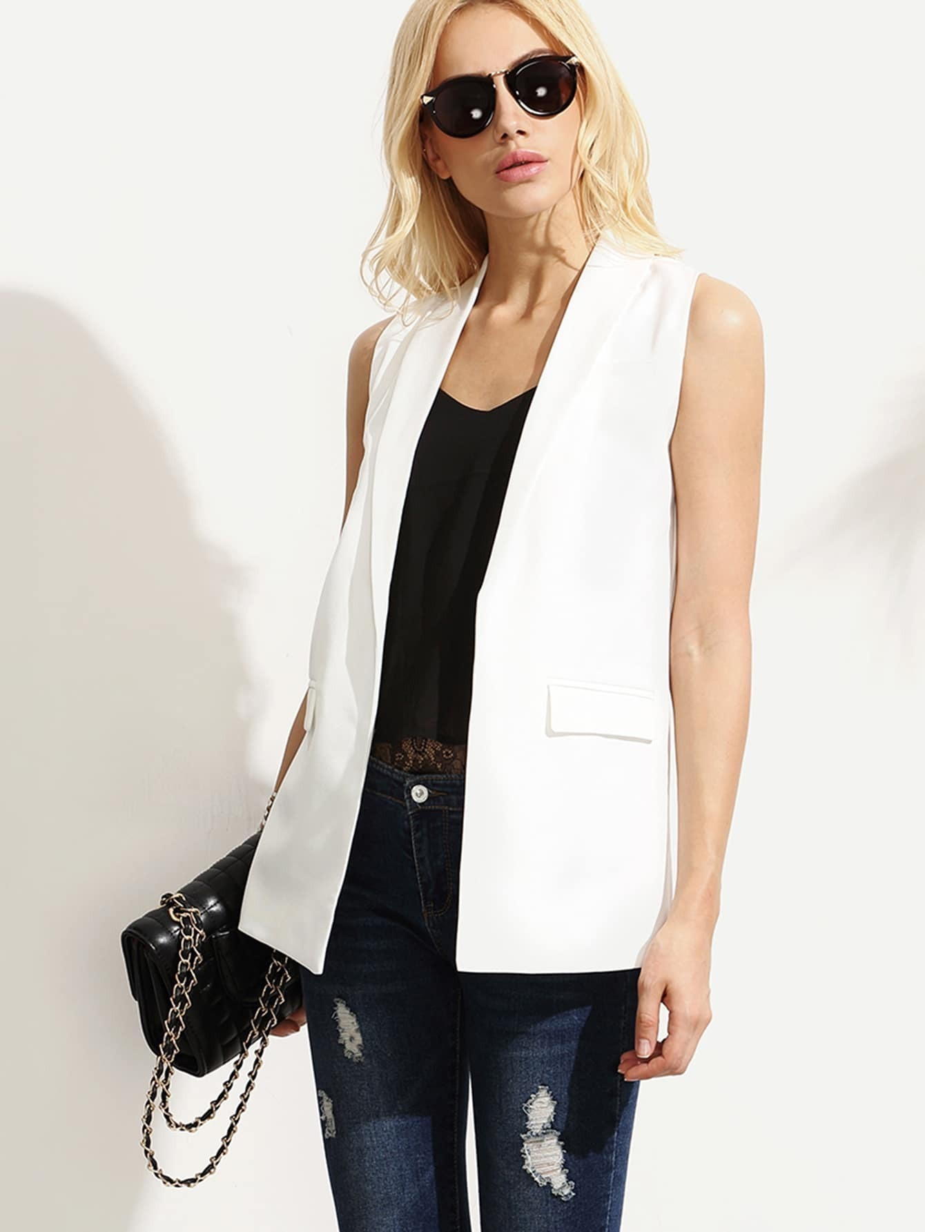 9bca35d45661f White Shawl Lapel Sleeveless Blazer EmmaCloth-Women Fast Fashion Online
