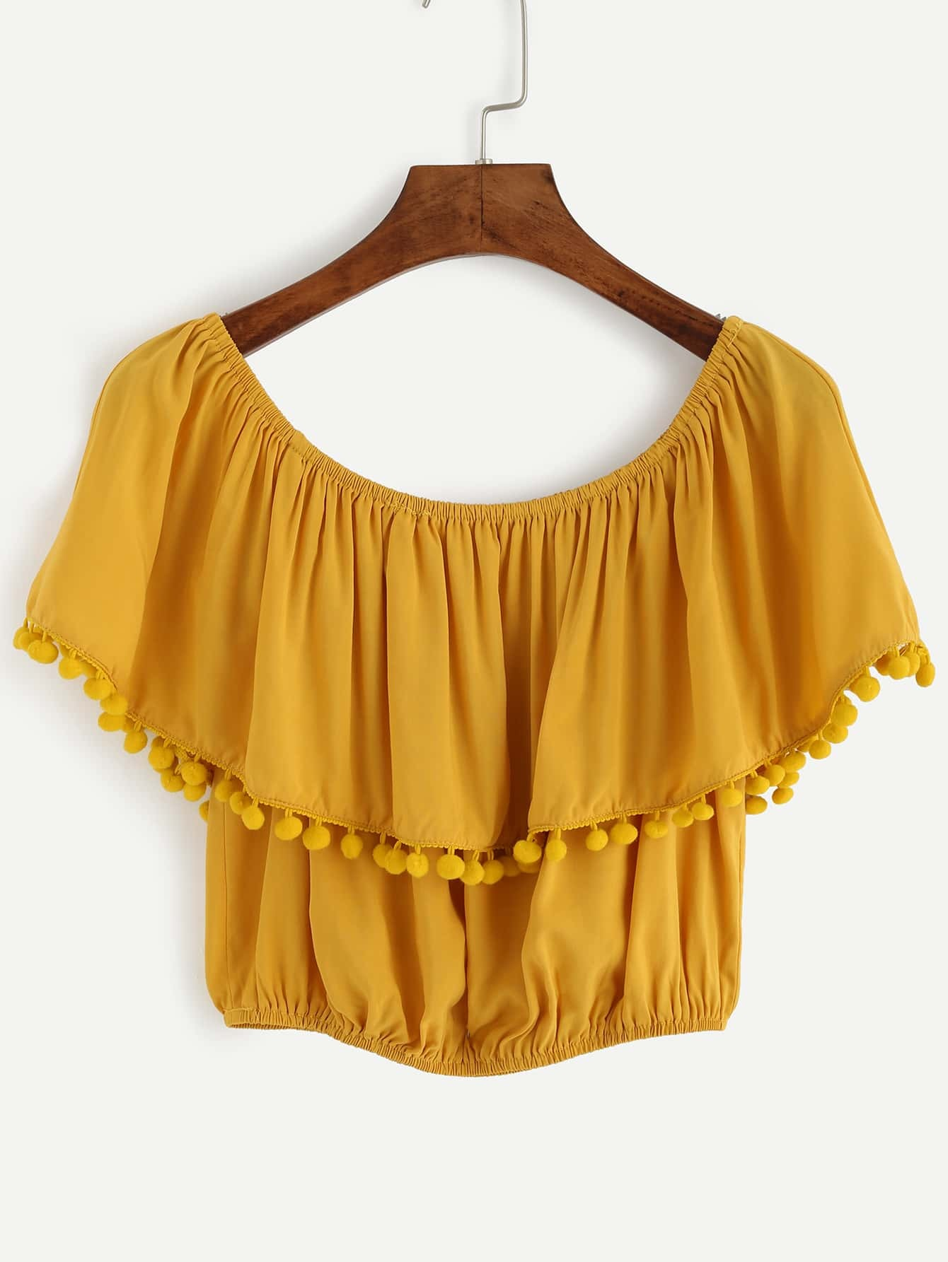 9aeedbcbdc06d6 Yellow Pom Pom Trim Ruffle Off The Shoulder Top EmmaCloth-Women Fast ...